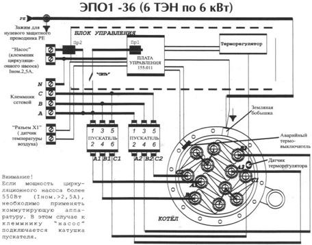 Электрокотел ЭВАН WARMOS - 36, схема и порядок подключения.