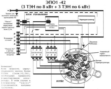 Электрокотел ЭВАН WARMOS - 42, схема и порядок подключения.