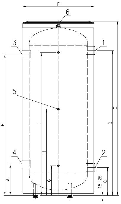 Конструкция и размеры буферного накопителя NIBE BU-200.8 R